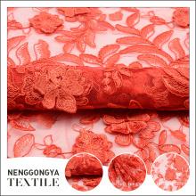 Tissu professionnel de dentelle africaine de broderie florale rouge de bande professionnelle haut de gamme