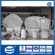 Ensemble de table à manger 86pcs forme carrée nouvelle vaisselle en porc chinois pour table