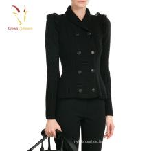 Schwarz Open Cardigan Sweater Damen Mantel Pullover