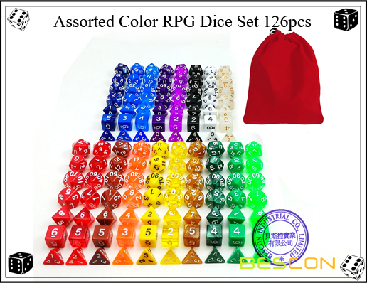 Assorted Color RPG Dice Set 126pcs-2