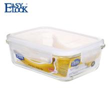 Récipient hermétique hermétique de stockage de nourriture de verre de Borosilicate avec la couverture