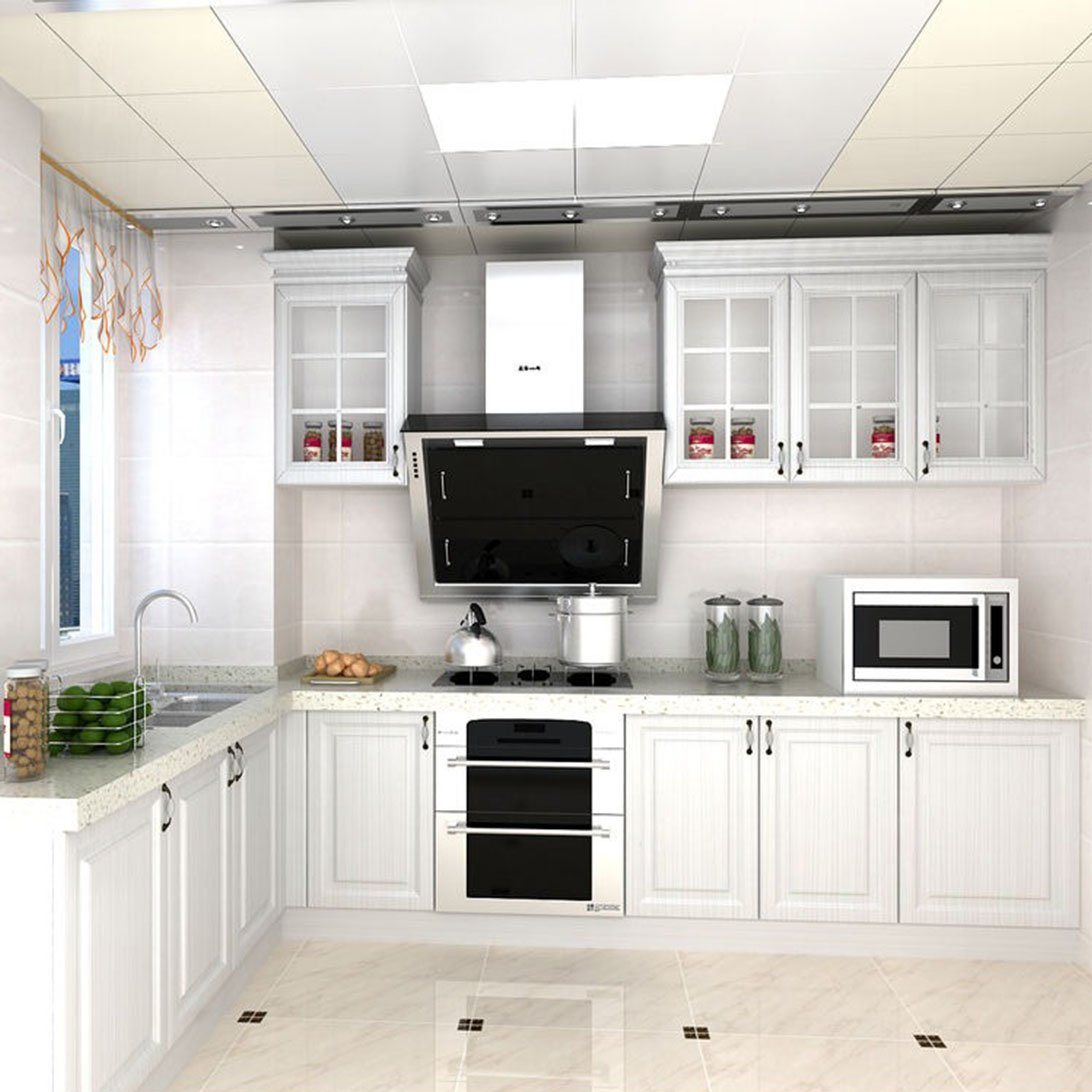 High Gloss Finish Kitchen Cabinet with American Style-2