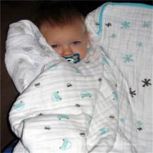 large lattice washed cotton muslin swaddle blanket