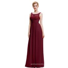 Starzz 2016 barato simple sin mangas V espalda de gasa larga vestido de baile rojo ST000061-2