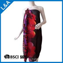 Polyester Chiffon Gedruckter Schal für Frauen Rot