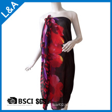 Polyester Chiffon Printed Scarf for Women Red