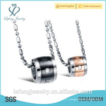 2016 New arrival lovers pendant rose gold black stainless steel circle gold pendant for lovers