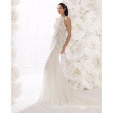 Em torno do pescoço pesado cristal Beading Lace lantejoulas sereia vestido de noiva
