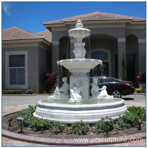 Large Outdoor White Marble Garden Fountain