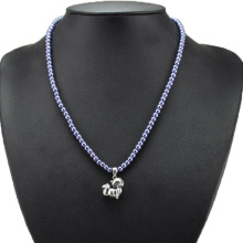 Blue Small Pearl Beads Necklace with Fox Pendant