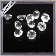 Diamante brilhando redondo branco natural top quality topázio pedra preciosa