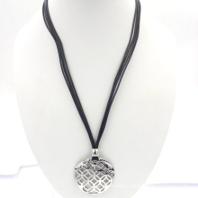 25cm Black Wax Cord Hollow Silver Charms Pendant Necklace