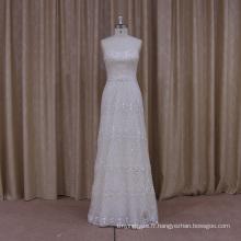 Robe de mariée A-ligne de luxe perlée avec Trian détachable