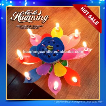 8 velas de arco-íris girando velas de aniversário musical
