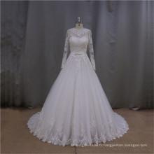 LAN002 Robe de mariée nighties musulmanes de haute qualité avec douille d'illusion