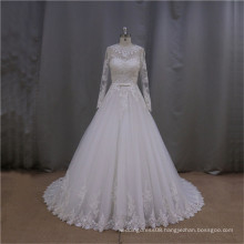 LAN002 High quality muslim nighties wedding dress with illusion sleeve