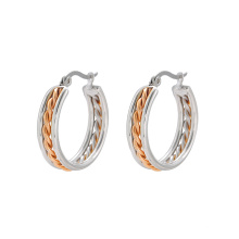 E-604 xuping fashion  Stainless Steel Custom  design Rhinestone  Hoop Earrings for women