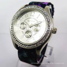 Liga de diamante caso relógio pulseira de nylon moda barata relógio de quartzo (hl-cd020)
