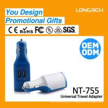 Tarjeta madre inteligente VIP USB Cargador de coche azul 5v 2.4a, cargador de coche mini AC dc 2.1a multi