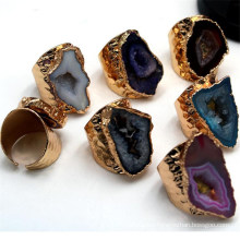 Natural Crystal Agates Window Druzy Rings Gold Plating Crystal Geode Ring Adjustable Natural Stone Rings