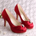 Platform Red Wedding Shoes with Charms