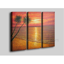 Pintura a óleo pintada mão do cenário do beira-mar de 100% na arte da lona (SE-205)