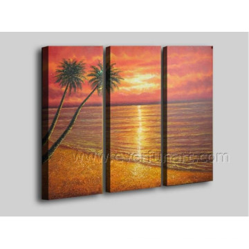 100% Hand Painted Seaside Scenery Oil Painting on Canvas Art (SE-205)