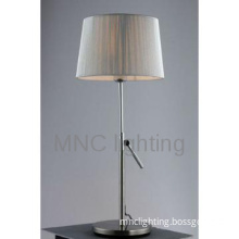 hotel project  fabric shade with adjustable height metal table lamp