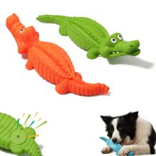 Brinquedos para animais de estimação crocodilo de borracha indestrutível, brinquedos para roer