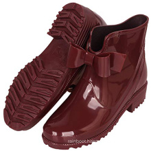 Girl's Red Color Waterproof Rubber Bow Rain Boots Anti Slip Garden Shoes