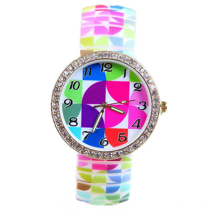 Brilliant Diamond Women Print Flower Watch