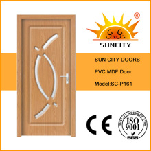 Venta caliente interior PVC MDF Glass Wood Bathroom Door (SC-P161)