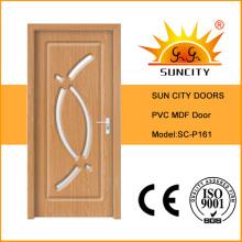 Porte de salle de bains en bois de verre de PVC MDF d'intérieur de vente chaude (SC-P161)