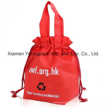 Custom Reusable Non-Woven Drawstring Tote Shopping Bag for Promotion