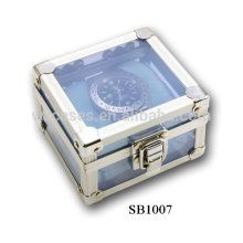 aluminum watch packaging box with clear acrylic plate as walls for single watch