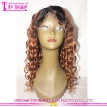 China Qingdao fábrica 100% brasileiro virgem remy cabelo humano glueless dois tons de cor 1b / 30 peruca do laço