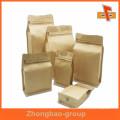 Bolsa de papel de fondo cuadrado plano Biogradable de grado alimenticio para embalaje con cremallera