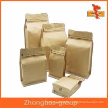 Sac en papier kraft à fond plat biogradable pour emballage de café ou de nourriture avec fermeture à glissière