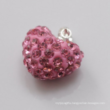 fashion jewelry gift Shamballa Pendant Wholesale Heart Shape New Arrival 15MM Pink Crystal Clay Pendant For DIY Jewelry