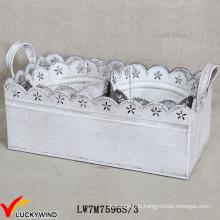 Metall-Blatt-Weinlese-weiße runde Blumen-Arrangements-Topf mit Rectangle-Behälter