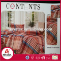 King plaid duvet cover sethigh quality, 100% polyester China duvet cover set, Factory supplier whosale duvet cover set