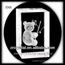 K9 3D Untergrund geschliffener Panda im Kristall Rechteck