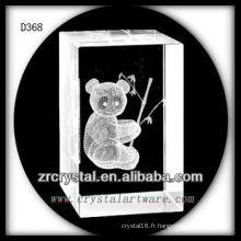 K9 3D Subsurface Panda gravé à l'intérieur du rectangle de cristal