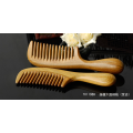 Natural Green Sandalwood Hair Comb with Round Handle