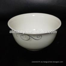 Nuevo hueso china tazón de cerámica forma redonda con flor de oro