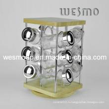 Вертикальная бамбуковая кухонная посуда Spice Rack
