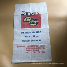Bolsa de arroz de 20kg de impresión offset en bolsa de plástico