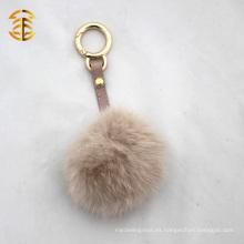 Destacable baratos hecho a mano auténtica bola de piel de conejo llavero