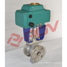 DIN water on/off ac110v electric flange class150lb ball valve v type