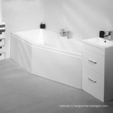 Акриловая острая угловая душевая ванна со стеклом, легкая для впитывания